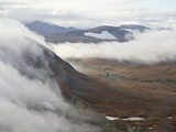 Clouds and Mountains and Tundra in the Fall  Katmai Peninsula  Alaska  USA