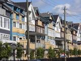 Multi-Coloured Houses in the Beaches Area of Toronto  Ontario  Canada  North America