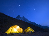 Illuminated Tents at Island Peak Base Camp  Sagarmatha National Park  Himalayas