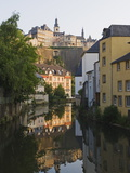 Town Houses Reflected in Canal  Grund District  Luxembourg City  Grand Duchy of Luxembourg
