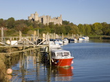 Colourful Boats Moored on the River Arun Beneath the Castle  Arundel  West Sussex  England  Uk