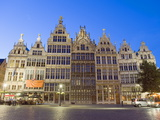 Stadhuis (City Hall) Illuminated at Night  Antwerp  Flanders  Belgium  Europe