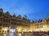 Guildhalls in the Grand Place Illuminated at Night  UNESCO World Heritage Site  Brussels  Belgium