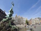 Baroque Brabo Fountain Dating From 1887  in Grote Markt  Antwerp  Flanders  Belgium