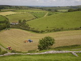Tractors Harvesting in Field By Carreg Cennon  Brecon Beacons National Park  Wales  United Kingdom