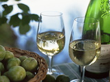 Glasses of White Wine on Table With River Relected in Glass  Loire  France  Europe