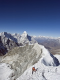 Climber on Summit Ridge of Island Peak  Solu Khumbu Everest Region  Sagarmatha National Park