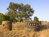 Geometric Designs Painted on Traditional Houses in Village in Tiebele Area of Burkina Faso