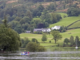 Canoeists  Coniston Water  Lake District National Park  Cumbria  England  United Kingdom  Europe