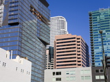 900 Figueroa Tower on the Left in Downtown Los Angeles  California  USA