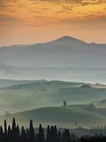 Sunrise Over Val D'Orcia  Near San Quirico D'Orcia  Siena Region  Tuscany  Italy  Europe