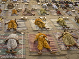 Students of a Sanskrit School Performing the Savasana Posture During Daily Yoga Lesson  India