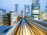 Pov Blurred Motion of Tokyo Buildings From a Moving Train  Tokyo  Honshu  Japan  Asia