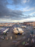 View Over Djemaa El Fna at Dusk With Foodstalls and Crowds of People  Marrakech  Morocco