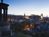 Edinburgh Cityscape at Dusk Towards Edinburgh Castle  Edinburgh  Lothian  Scotland  Uk
