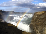 Gullfoss  Europe's Biggest Waterfall  With Rainbow Created From the Falls  Near Reykjavik  Iceland