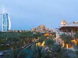 Burj Al Arab and Madinat Jumeirah Hotels at Dusk  Dubai  United Arab Emirates  Middle East