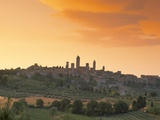 San Gimignano at Sunset  Siena Province  Tuscany  Italy  Europe