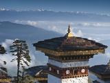 Buddhist Chorten  Dochula Pass  Himalayan Mountain Range in Distance  Bhutan  Asia