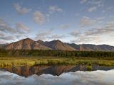 Mountains Reflected in a Pond Along the Denali Highway  Alaska  USA