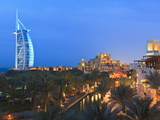 Burj Al Arab Viewed From the Madinat Jumeirah Hotel at Dusk  Jumeirah Beach  Dubai  Uae
