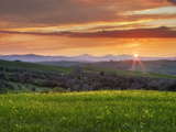 Sunset Over Val D'Orcia  Near San Quirico D'Orcia  Siena Region  Tuscany  Italy  Europe