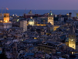 Port and Cityscape at Dusk  Genoa  Liguria  Italy  Europe