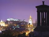 Edinburgh Cityscape at Dusk Looking Towards Edinburgh Castle  Edinburgh  Lothian  Scotland  Uk