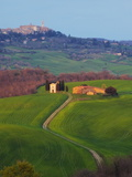 The Vitaleta Chapel With Pienza in the Distance  Val D'Orcia  Tuscany  Italy  Europe