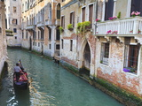 A Gondola on a Canal in Venice  UNESCO World Heritage Site Veneto  Italy  Europe