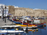 Old Port Canal  Fishing Boats and Wall of the Kasbah  Bizerte  Tunisia  North Africa  Africa