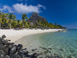 White Sand Beach of the Five Star Hotel Le Paradis  With Le Morne Brabant in Background  Mauritius