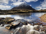 Winter View Over River Etive Towards Snow-Capped Buachaille Etive Mor  Rannoch Moor  Scotland