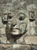 Carved Stone Face on the Steps of the East Court  Copan Archaeological Park  Honduras