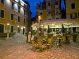 Terrace of Attractive Trattoria in the Old Town at Dusk  Rovinj (Rovigno)  Istria  Croatia  Europe
