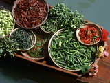 An Assortment of Chillies  a Staple Ingredient of Thai Cooking  in Floating Market in Thailand