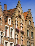 Gothic Buildings on Van Eyck Plaza  Bruges  West Flanders  Belgium  Europe