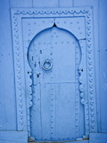 Blue Doorway With Wooden Door  Chefchaouen  Morocco  North Africa  Africa