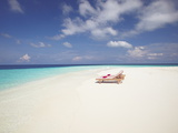 Two Deck Chairs on Tropical Beach  Maldives  Indian Ocean  Asia