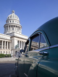Old American Car Parked Near the Capitolio Building  Havana  Cuba  West Indies  Central America