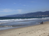 Beach  Santa Monica  Malibu Mountains  Los Angeles  California