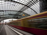 Train Leaving Berlin Hauptbahnhof  the Main Railway Station in Berlin  Germany  Europe