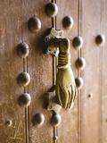 Brass Hand of Fatima Door Knocker, a Popular Symbol in Southern Morocco, Merzouga, Morocco Papier Photo par Lee Frost