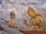 Buddhist Frescoes in Cave Gallery Part Way Up Lion Rock  Sigiriya  UNESCO Heritage Site  Sri Lanka