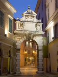The Balbi Arch and Pedestrianized Grisia Illuminated at Dusk  Rovinj (Rovigno)  Istria  Croatia
