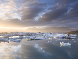 Icebergs Floating on the Jokulsarlon Glacial Lagoon at Sunset  Iceland  Polar Regions