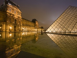 Palais Du Louvre Pyramid at Night  Paris  France  Europe