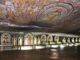 Statues and Painted Roof in Natural Cave in Granite  Cave No 2  Maharaja Viharaya  Sri Lanka