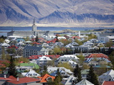 View Over Reykjavik With Mountains Looming in the Distance  Reykjavik  Iceland  Polar Regions