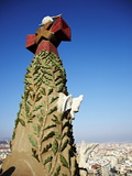Close Up of Part of the Tower of the Sagrada Familia  Barcelona  Catalonia  Spain